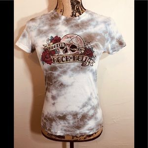 Women Graphic Tee Rooted Rock N Roll Skull Roses